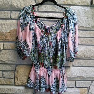 Guess by Marciano pink bohemian print silk blouse